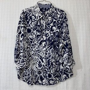 Chaps No Iron Button Down Collared Floral Shirt